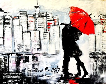 XL Canvas Art, Kiss, Red Umbrella Painting, Wanderlust by Lana Moes, Ready to Hang, Textured Art on Canvas, Commission, Custom Painting