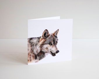 Wolf Card, wolf art, blank card, greetings card, animal card, wildlife card, woodland art, animal card, timber wolf