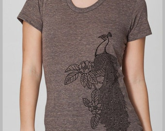 Women's Boho PEACOCK T Shirt  American Apparel Tee S, M, L, XL  8 COLORS Boho Style