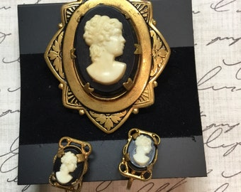 Vintage Cameo and Earrings