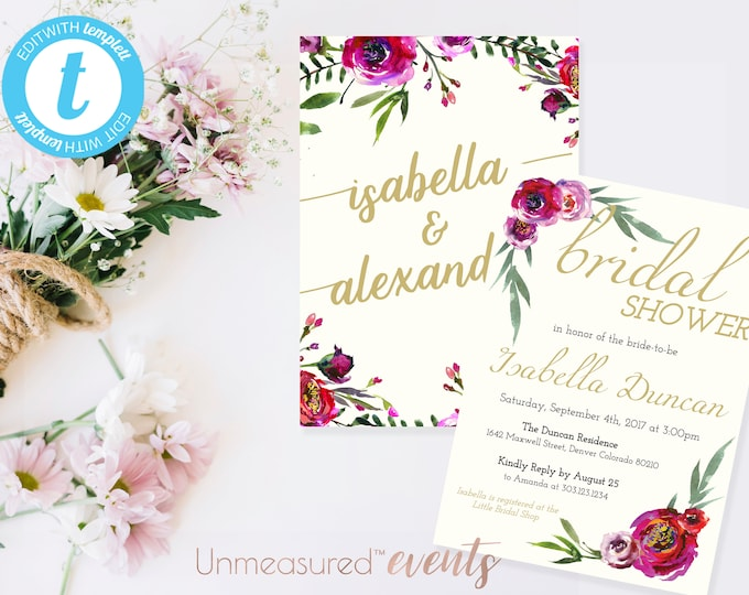 Featured listing image: Burgundy Floral and Mint Greenery Bridal Shower Invitation Template Printable