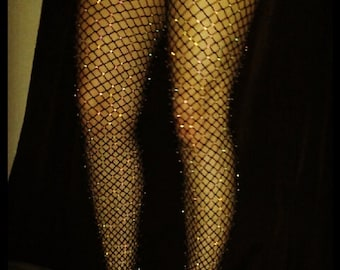 Sexy Black Rhinestones Crystallized Crystal Diamond Fishnet Tights Stockings Hosiery - All sizes Available