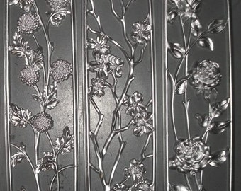 Set of 3 Silver Metallic Flower Themed Wall Hangings by Dart Tryptich