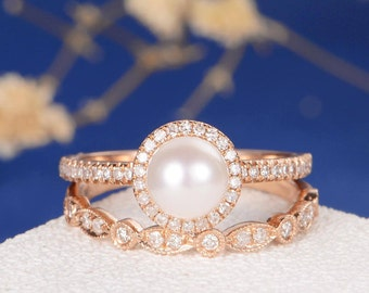 Akoya Pearl Engagement Ring Rose Gold Art Deco Wedding Band Women Antique Bridal  Sets Wedding Anniversary Promise Halo Diamond Eternity 2pcs