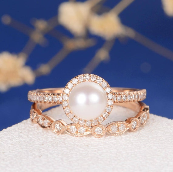 products set diamonds original ring wedding jewellery gold with file engagement pearl gemstone rings