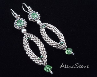 Peridot Earrings, Silver Earrings, Green Earrings, Silver Drop Earrings, Long Earrings, Bridal Earrings, Beaded Earrings,
