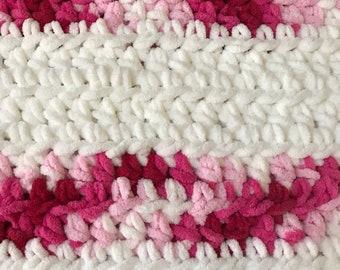 Super soft and squishy Chenille style Bernat Blanket Yarn -Pink Swirl and White Stripe