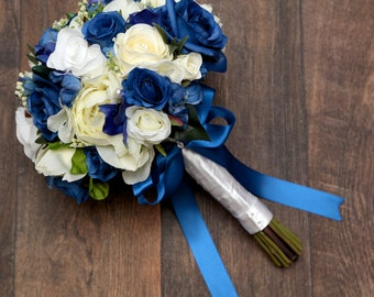 Artificial silk bride royal blue and Ivory /white wedding bouquet