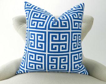 Royal Blue Pillow Cover, Greek Key Pattern -MANY SIZES- Cobalt Throw Pillow/Cushion, Beach Costal Decor,  Euro Sham, Apollo Pemier Prints