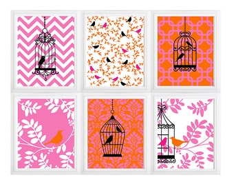 Modern floral birdcage pattern wall art- pink- orange- white- set of 6  Custom Colors/ Sizes Available !!!