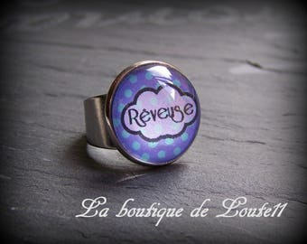 Silver cloud ring ° dreamer (blue) with polka dots