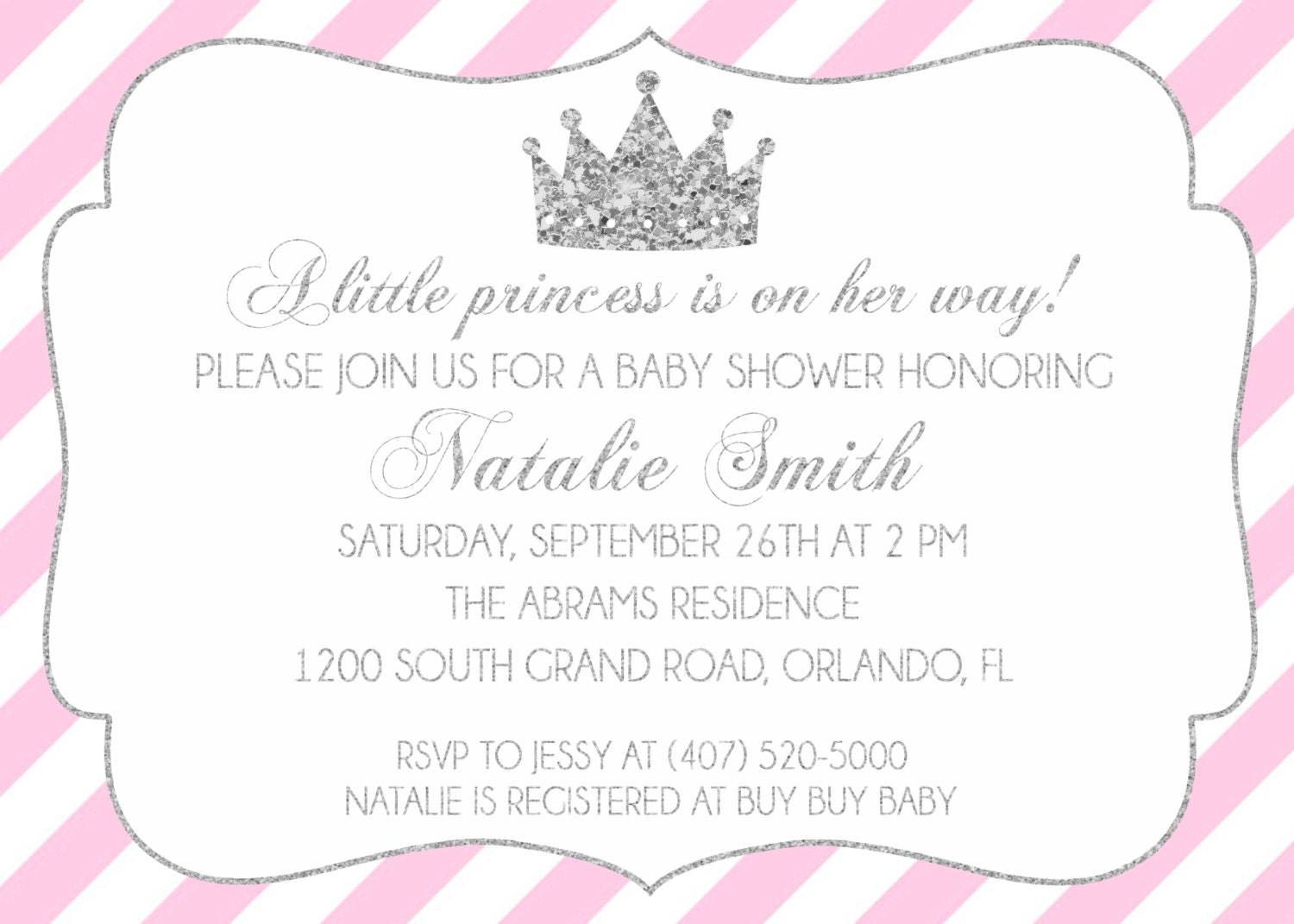 Pink and Silver Princess Baby Shower Invitation, Pink White Stripe ...