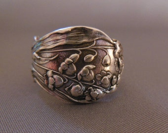 Lily Of The Valley  Antique Sterling Silver Spoon Ring  Size 7.25