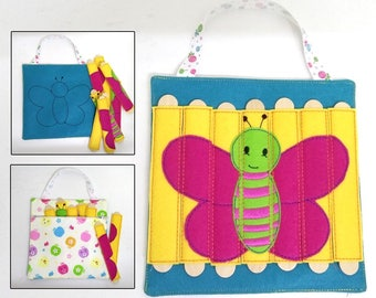 Butterfly Stick Puzzle with Zipper Bag. Popsicle Puzzle, Busy Bag. Preschool, Toddler, Quiet Toy, Gift