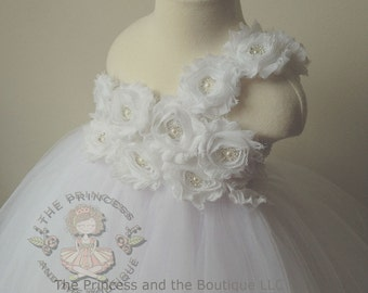 white flower girl dress, flower girl dress white, white tutu dress, white girls dress, white tulle dress, birthday outfit, baptism dress