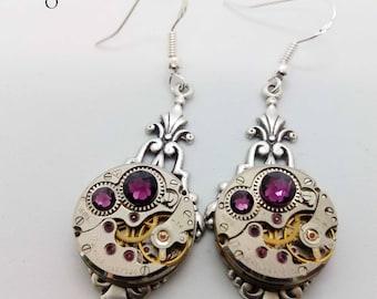 Art Deco Steampunk Earrings in Amethyst - Steampunk earrings - Art Deco - Jewelry - steampunk Jewellery - steampunk - gothic earrings - goth