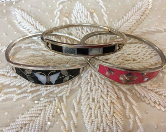 Selling Choice 3 Sterling silver bangles bracelets with abalone shell