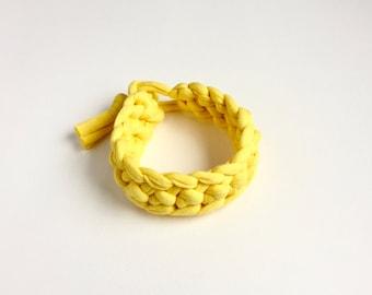 Yellow bracelet - Yellow T-shirt yarn bracelet - Stocking filler - Gift for her - Bright yellow crochet bracelet - Yellow jewellery