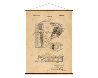 "Grand Piano Patent, Canvas 16""x22"", vintage grand piano art, canvas art, vintage art, musical instrument art"