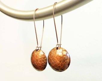 Burnt Orange Snakeskin Earrings, Enamel on Copper Long Earrings, Basse Taille, Round Circle, Embossed Metal