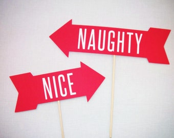 Naughty or Nice Arrows - Christmas Photobooth - Christmas Photo Booth Props - Christmas Party Photobooth