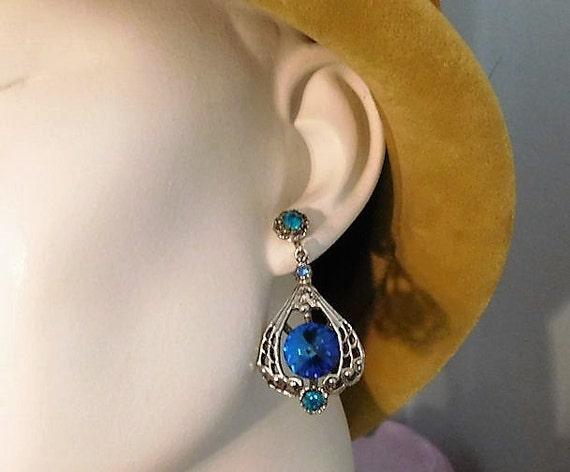 Rhinestone Earrings / Clip On /  Mid Century
