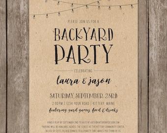 Backyard Party Rustic Invitation. Casual Wedding Party Invite. Custom DIY Printable. Patio Lights. String Lights. Chalkboard Kraft Invite.