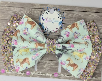 """Wild Horses Double Fabric Hair Bow-Alligator Clip-Baby Headband-Photo Prop-Faux Leather-Chunky Glitter-4.5"""" hair bowGlitter Hair Bow"""