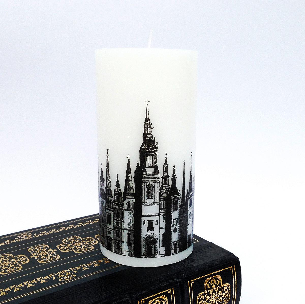 Gothic Spires Black White Candle Victorian London Skyline