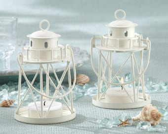 Lighthouse Centerpiece Lanterns - Set of 12 - White Nautical Ocean Beach Lantern Wedding Reception Table Decorations - MW30024