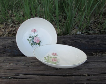 Rose Pattern Vintage China Serving Bowl Set Round and Oval Boho Shabby Chic Tabletop