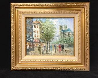 Original, Signed Impressionist Oil Painting by J. Bardot - Parisian Street Scene