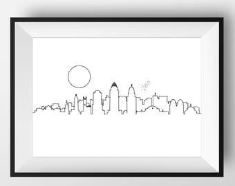 Cincinnati Skyline, Cincinnati art, Cincinnati print, Cincinnati poster, Cincinnati cityscape, Cincinnati Ohio