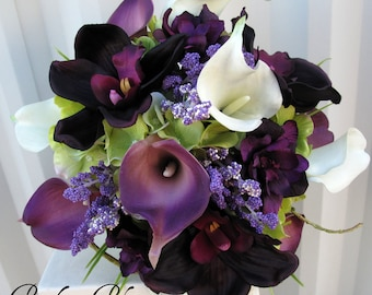 Wedding Bouquet, Bridesmaid bouquet, Real touch calla lily plum orchid Silk wedding flowers