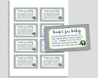 Navy & Lime Books for Baby Cards, Navy and Green Chevron Invite Insert, Baby Boy, DIY Printable, INSTANT DOWNLOAD