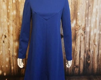 Vintage, 60's, mod structured royal blue dress, Medium