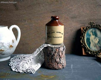 Vintage Stoneware 'Olive Just Come Up From Zummerzet' Small Flask/Bottle/Flagon/Jug Retro Farmhouse Display Ornament Collectible Stoneware