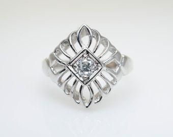 Vintage Diamond Pinky Ring Unique Vintage Diamond Ring White Gold Pinky Ring Small Vintage Ring Dainty Vintage Ring Intricate Gold Ring