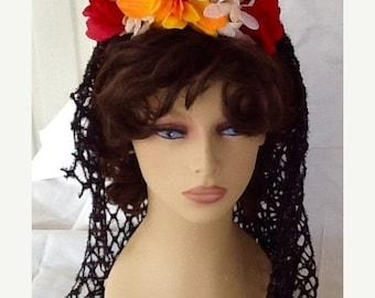 SPRING SALE - Day of the Dead Veil, Dia de los Muertos, Halloween Costume, Accessory, Headband, Flower Crown, Goth Veil