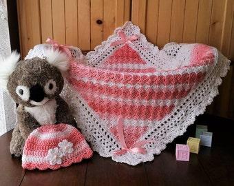 Crochet Baby Blanket, Baby Girl Blanket and Hat Set, Baby Shower Gift for Baby Girl