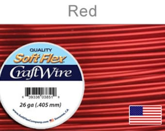 26 Gauge Red Soft Flex Wire, Round, Non Tarnish, Supplies, Findings, Craft Wire