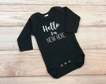 Hello I'm New Here Bodysuit / Gender Neutral / Newborn / New Baby / Unisex