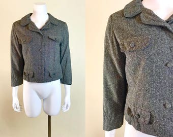 Medium •• 1940s CHARCOAL GRAY tweed jacket •• vintage forties lightweight blazer