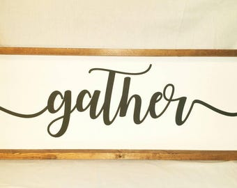 free shipping, gather, rustic gather sign, farmhouse gather sign, kitchen gather sign, framed gather sign, family gather sign