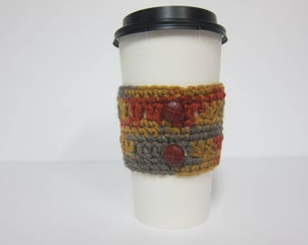 Rustic Coffee Cozy, Sienna Cup Cozy, Sienna and Grey Cozy, Crochet Cozies, Button Cozy, Coffee Cup Sleeve, To Go Cup Cozy, Cozies for Cups