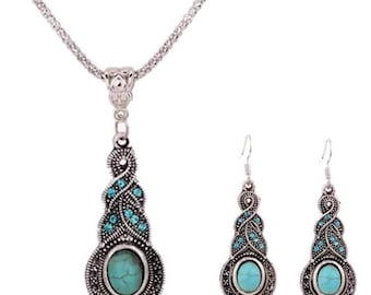 Antique silver blue crystal turquoise pendant necklace and earrings set