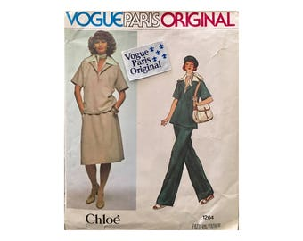 Vintage Vogue Sewing Pattern, Vogue Paris Original, Chloe Designer Pattern,  Vogue # 1264, Vintage Chloe, Vogue Pattern Original Label