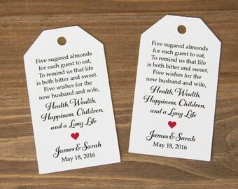 Jordan Almonds Favor Tag - Dragee - Wedding Favor Tag - Almond Wedding Favors - Wedding Favor Labels - Wedding Gifts - 36 Pieces
