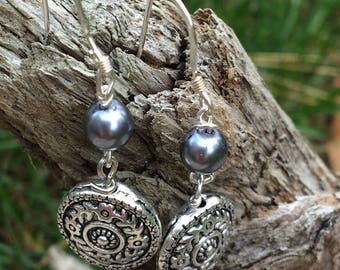 Bohemian silver medallion earrings and bracelet