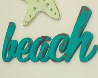 Beach Wood Word Cutout, Scroll Cut Word, Beach Sign, Beach Decor by 302WoodWorks